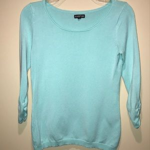 Express 3/4 Sleeve Aqua Scoop Neck Sweater - Small